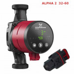 НасосGrundfos ALPHA 2  32-60 самый экономичный, Ночной режим, Авторегулировка по потребности. Потребление от 3-34 Вт. Рабочее давл.- max 10 bar., t* жидкости от +2 до +110*. Напор - 6м. Maкс. подача - 3.0 куб.метра. Производитель Дания